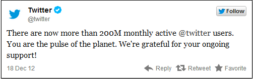 Twitter reaches 200 million monthly active users, twitter thanks to their users for their ongoing support.