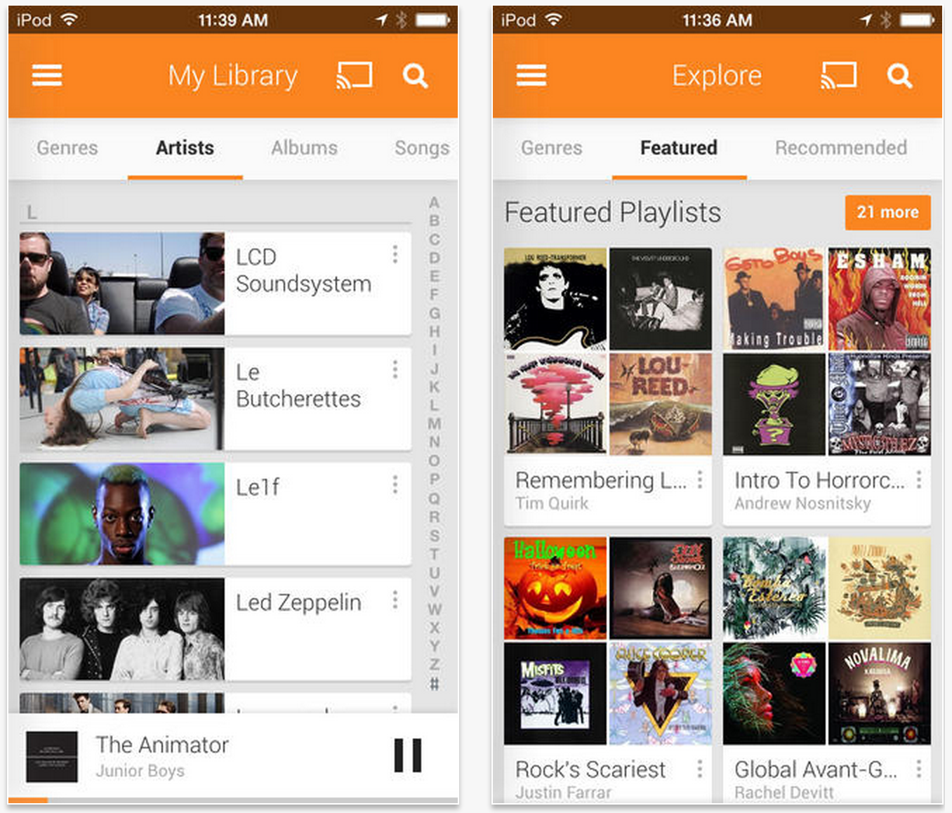 Google Play Music or YouTube Music